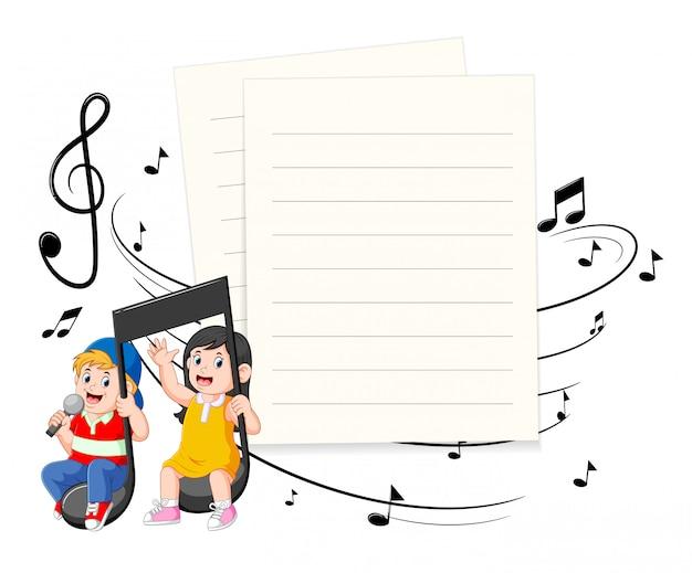 Note musicali di guida della ragazza e del ragazzo con priorità bassa in bianco di carta Vettore Premium