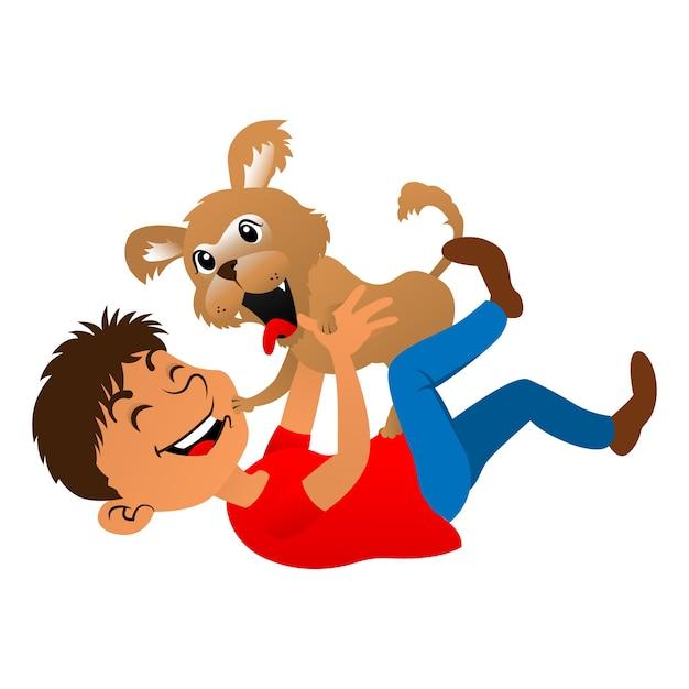 Ragazzo che gioca con un cucciolo, ideale per mascotte, adesivo o decorazione per negozio di animali Vettore Premium