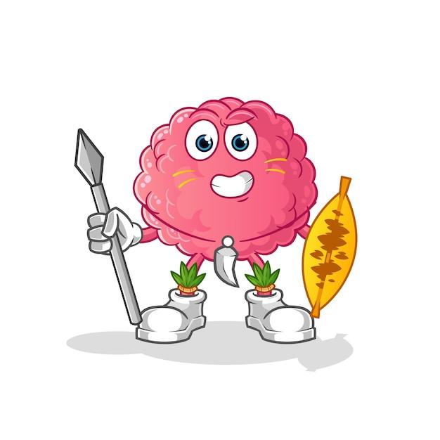 Mascotte del combattente tribale africano del cervello. cartone animato Vettore Premium