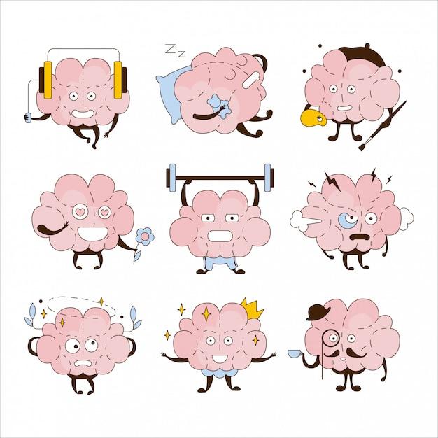 Insieme dell'icona di cervello diverse attività ed emoticon Vettore Premium