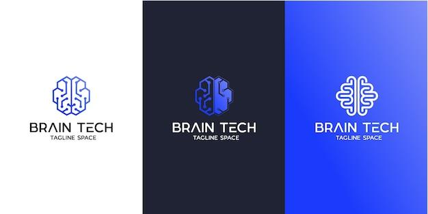 Brain tech logo design, smart brain logo design Vettore Premium
