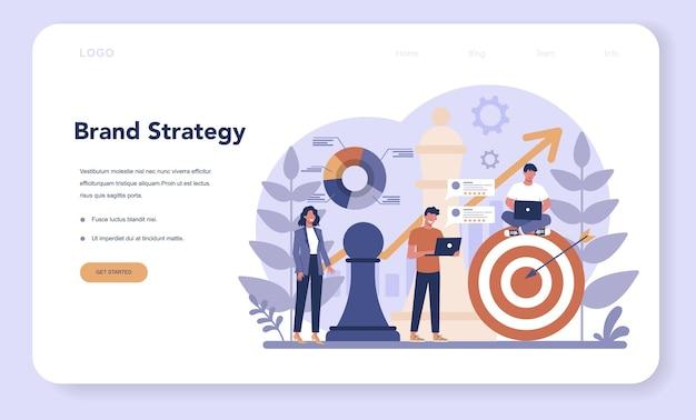 Banner web o pagina di destinazione del brand manager. lo specialista di marketing crea il design unico di un'azienda. riconoscimento del marchio come parte della strategia aziendale. Vettore Premium