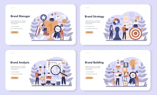 Set di pagine di destinazione web del brand manager. lo specialista di marketing crea il design unico di un'azienda. riconoscimento del marchio come parte della strategia aziendale. illustrazione piatta isolata Vettore Premium