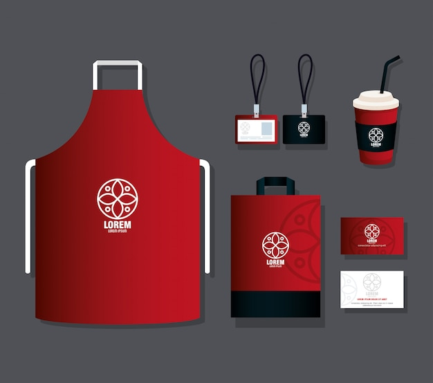Identità aziendale mockup del marchio, cancelleria mockup fornisce il colore rosso con segno bianco Vettore Premium