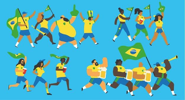 Set di fan del calcio brasiliano Vettore Premium