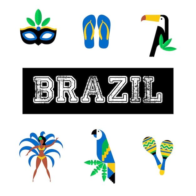 Brasile. icon set concetto di viaggio e turismo. sfondo del brasile Vettore Premium