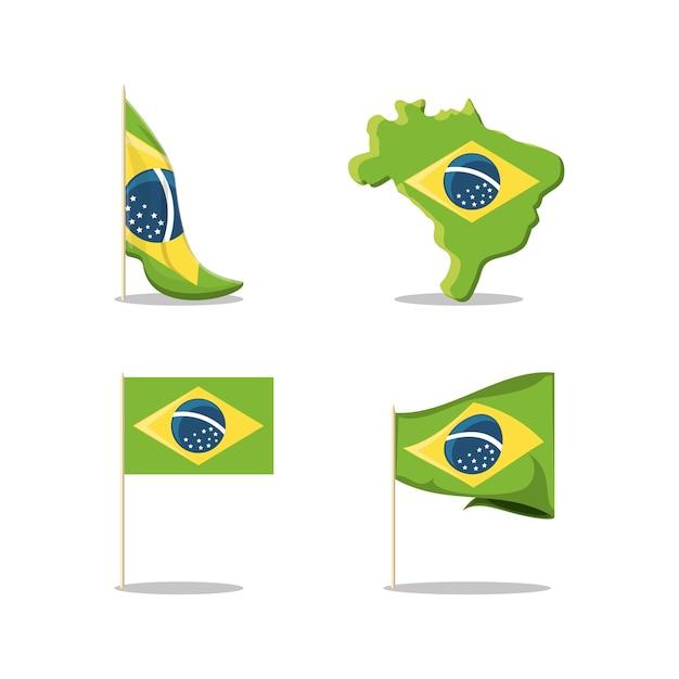 Set di icone del brasile Vettore Premium
