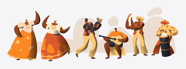 Set di ballerini di carnevale brasiliano. Vettore Premium