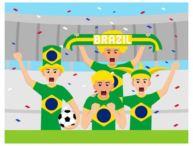 Sostenitori brasiliani in design piatto Vettore Premium