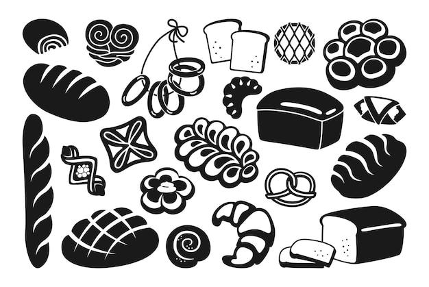 Set di icone glifo pane nero segale, pane integrale e pagnotta di grano, pretzel, muffin, croissant Vettore Premium