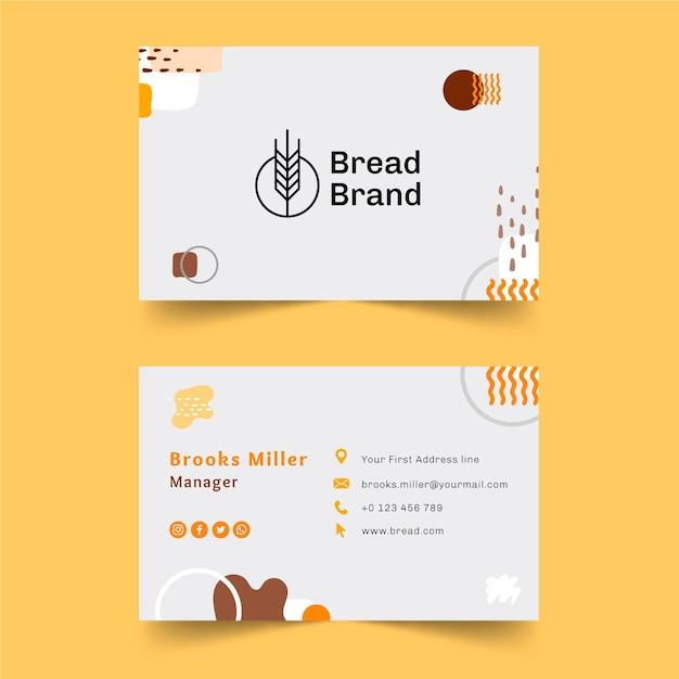 Modello di biglietto da visita di pane Vettore Premium