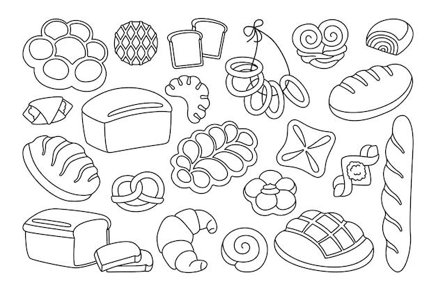 Linea di clipart di pane del fumetto impostato segale, pane integrale e pagnotta di grano, pretzel, muffin, croissant, baguette francese Vettore Premium