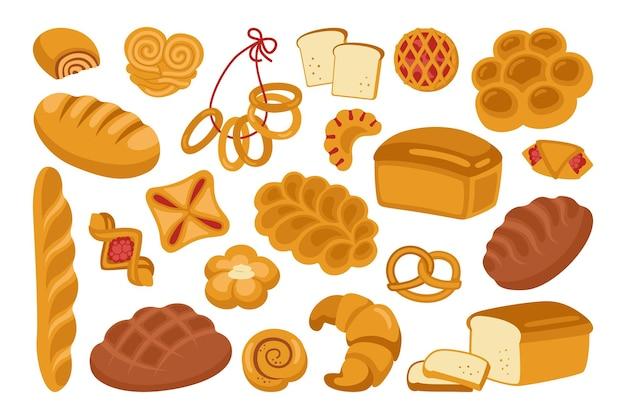 Insieme dell'icona del fumetto del pane segale, pane integrale e pagnotta di grano, pretzel, focaccina, croissant Vettore Premium