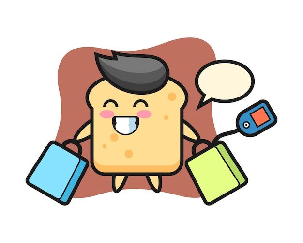 Fumetto della mascotte del pane che tiene un sacchetto della spesa Vettore Premium