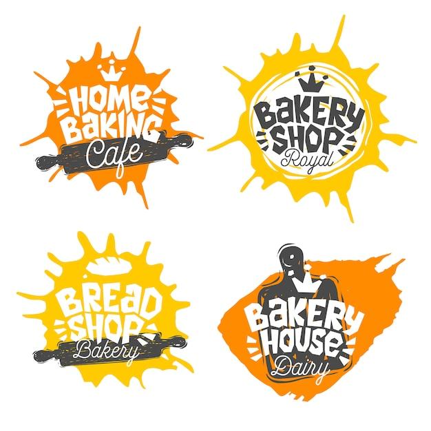 Negozio di pane, panetteria, panetteria casa cottura lettering logo etichetta emblema design. la migliore ricetta, cappello da cuoco, corona, frusta. illustrazione disegnata a mano Vettore Premium