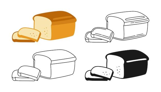 Set di clipart di panetteria a fette di pane Vettore Premium