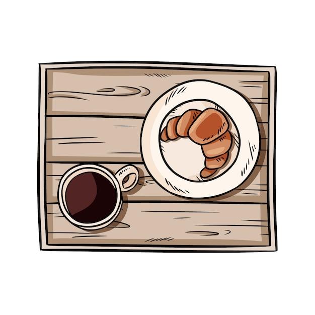 Colazione da vassoio. croissant con caffè su uno scarabocchio rustico in legno vecchio decorativo. illustrazione disegnata a mano vista dall'alto con caffè nero e pasticceria. immagine isolato su sfondo bianco Vettore Premium