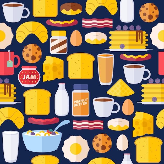 Modello colorato senza cuciture delle icone della colazione. Vettore Premium