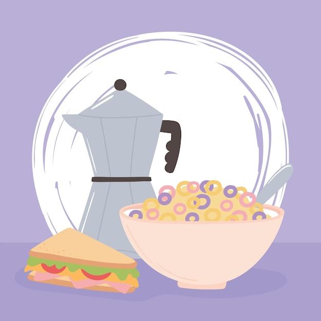 Illustrazione del fumetto di cibo delizioso di cereali e sandwich di moka per colazione Vettore Premium