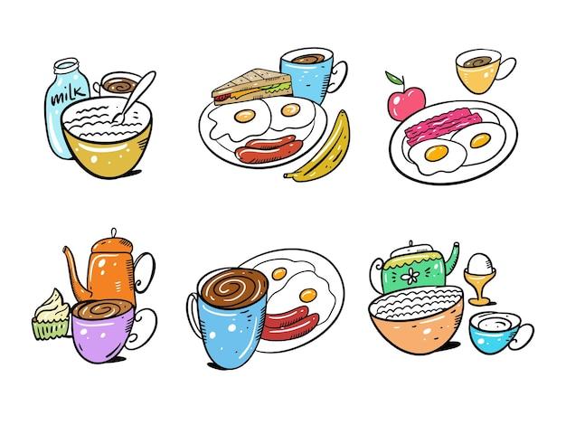 Set colazione disegnata a mano isolati su sfondo bianco. stile cartone animato. Vettore Premium