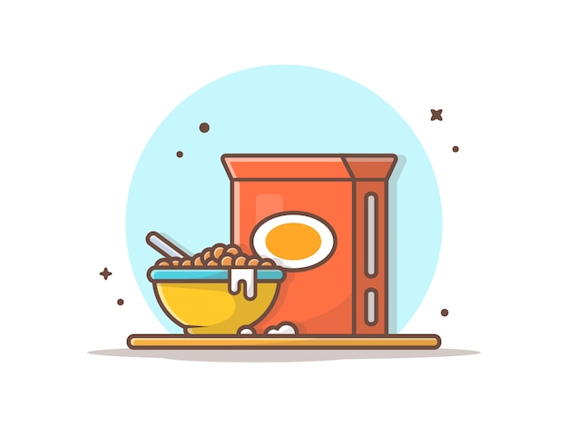 Colazione, cereali sulla ciotola Vettore Premium