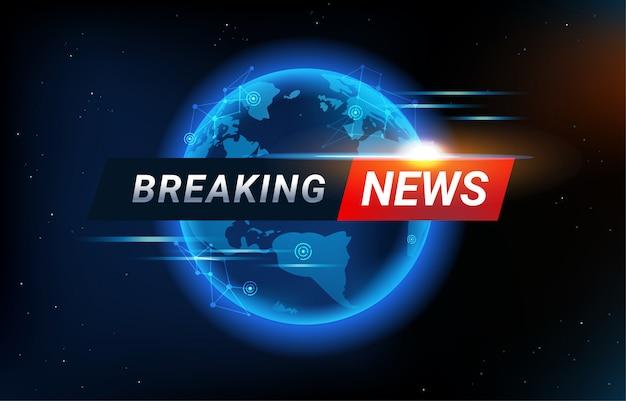 Sfondo di ultime notizie con sfondo di mappa del mondo. linea di connettività globale e barra del titolo per un moderno modello di notizie futuristiche. Vettore Premium