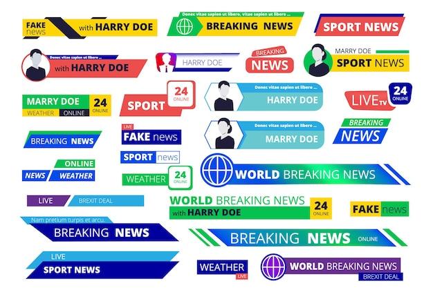 Banner di ultime notizie. l'interfaccia di trasmissione televisiva etichetta il nome utente e la barra grafica del testo del logo Vettore Premium