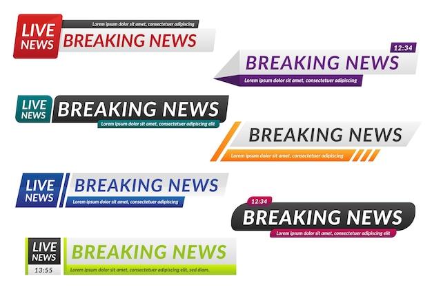 Banner di ultime notizie isolati su sfondo bianco Vettore Premium