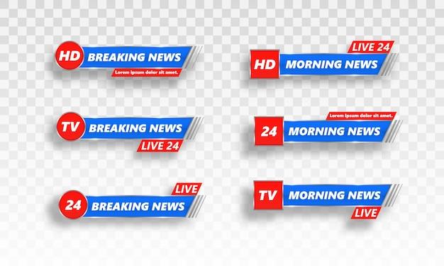 Ultime notizie, full hd, ultra hd, drammatizzazione, registrazione dal vivo. testata inferiore. vettore Vettore Premium