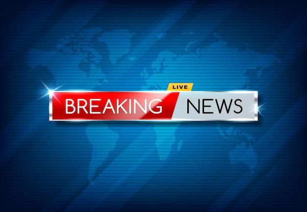 Ultime notizie tv screensaver, pubblicazione di canali di trasmissione multimediale vettoriale, annuncio urgente. Vettore Premium