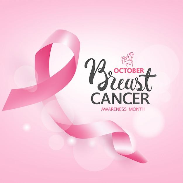 Banner e nastri di consapevolezza del cancro al seno, consapevolezza del cancro al seno per il nuovo modello di social media Vettore Premium