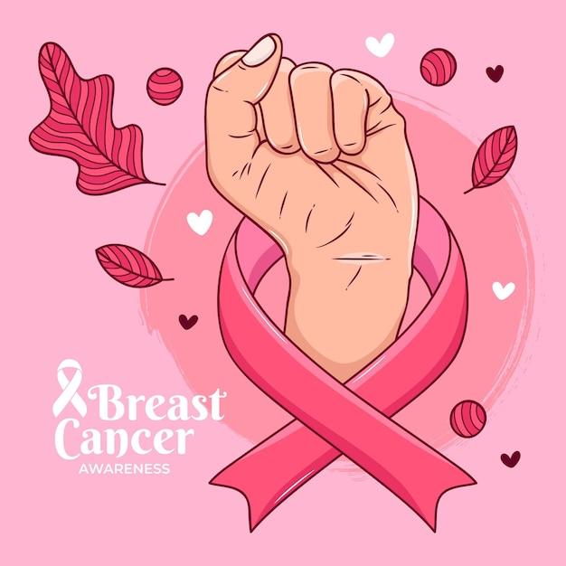 Concetto di consapevolezza del cancro al seno Vettore Premium