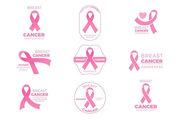 Collezione di badge mese di consapevolezza del cancro al seno Vettore Premium