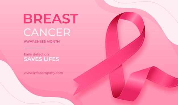 Banner di mese di consapevolezza del cancro al seno Vettore Premium