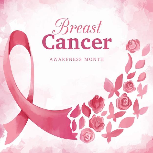 Concetto di mese di consapevolezza del cancro al seno Vettore Premium