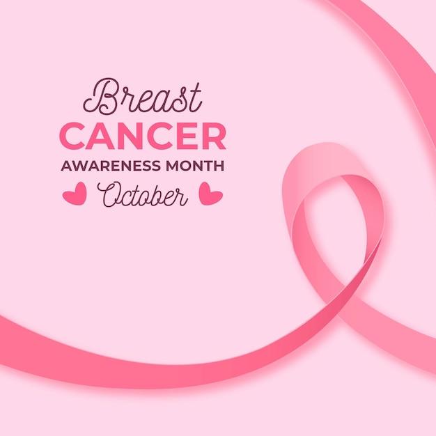 Mese di consapevolezza del cancro al seno con nastro rosa realistico Vettore Premium