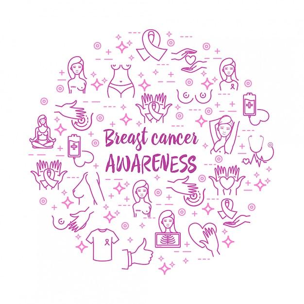 Icone di vettore di consapevolezza del cancro al seno messe Vettore Premium