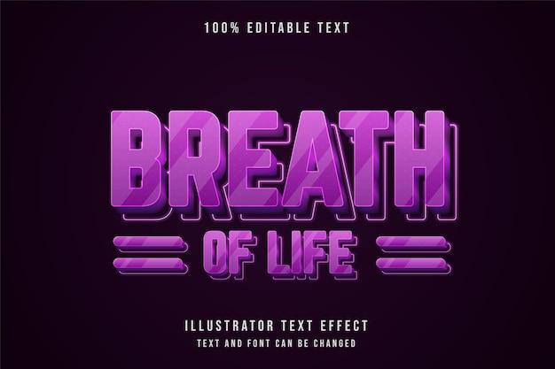 Respiro della vita, 3d testo modificabile effetto rosa gradazione viola neon stile testo Vettore Premium