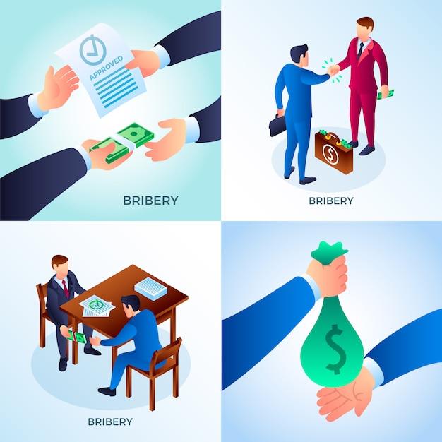 Set di corruzione. set isometrico di personaggi di corruzione Vettore Premium