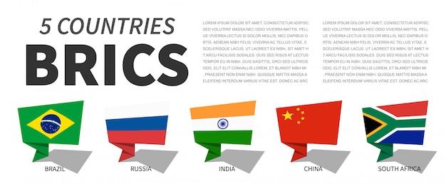 Brics. associazione di 5 paesi. progettazione di bolle di discorso Vettore Premium
