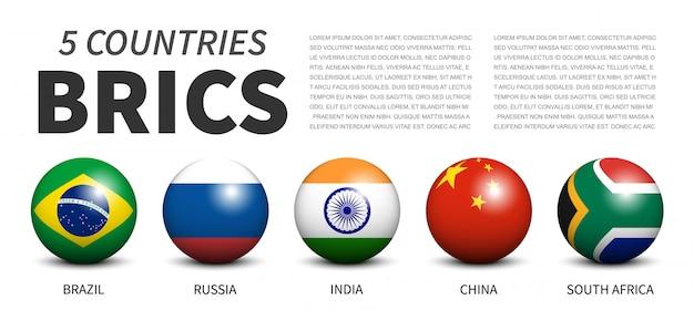 Bandiere dell'associazione brics in sfere tridimensionali Vettore Premium
