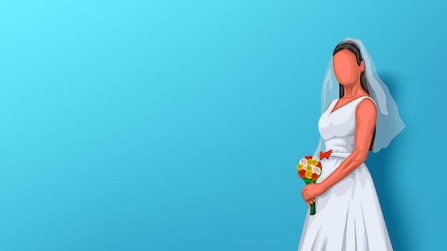 Sposa sull'azzurro Vettore Premium