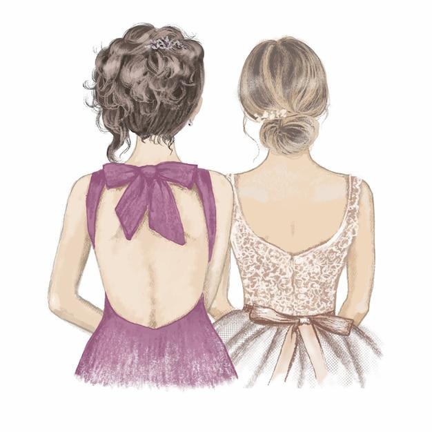 Sposa e damigella d'onore in abiti fantasia fianco a fianco. illustrazione disegnata a mano Vettore Premium