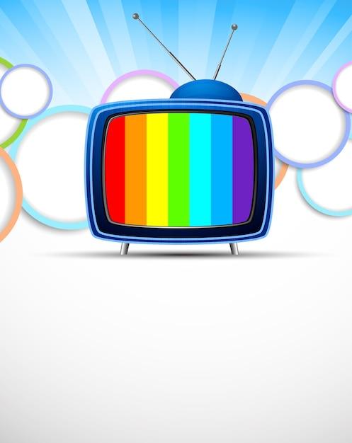 Sfondo luminoso con tv retrò e cerchio. illustrazione colorata astratta Vettore Premium