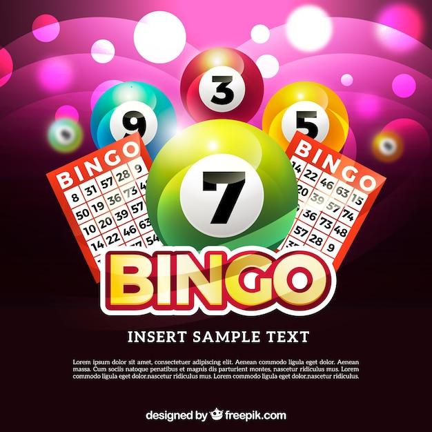 Sfondo luminoso di bingo Vettore Premium
