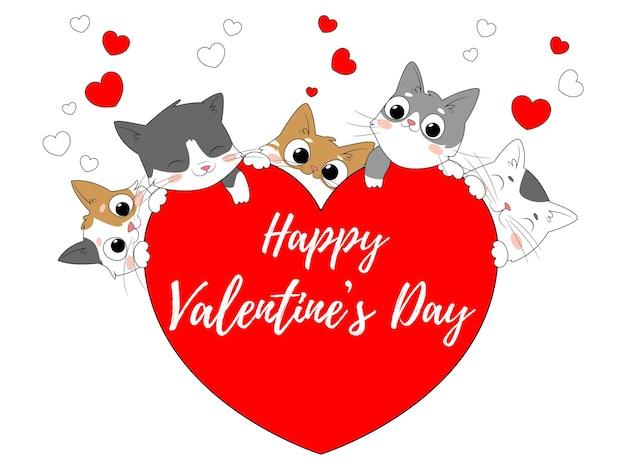 Carta brillante per san valentino con gatti e cuori Vettore Premium