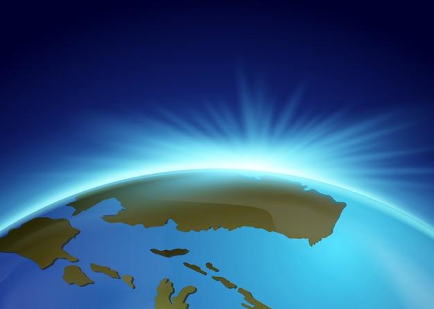 Luce intensa dietro la terra Vettore Premium