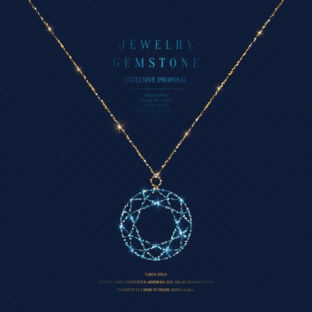 Manifesto luminoso con un prezioso ciondolo con una catena di glitter oro su uno sfondo scuro con campo per il testo. Vettore Premium