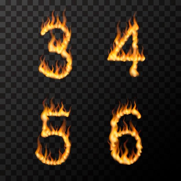 Fiamme di fuoco realistiche luminose a forma di 3 4 5 6 lettere, concetto di carattere caldo su trasparente Vettore Premium