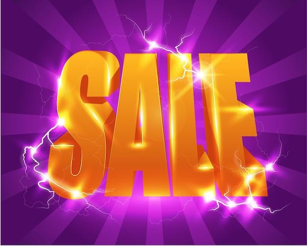 Manifesto luminoso di vendita con alta tensione. Vettore Premium
